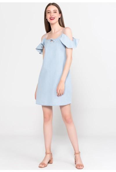 Vena Talia Sky Blue Çiçekli Elbise