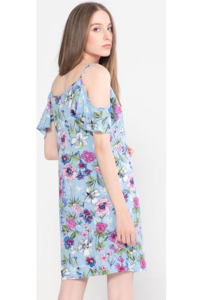 Vena Talia Mavi Çiçekli Elbise