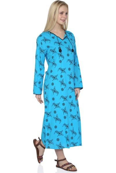 Eliş Şile Bezi Uzun Kol Baskılı Elbise