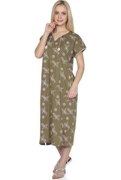 Eliş Şile Bezi Kısa Kol Baskılı Elbise