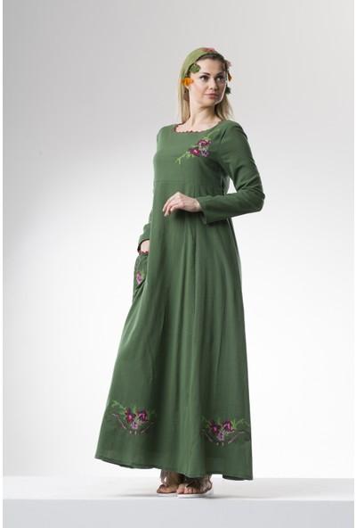 Eliş Şile Bezi Uzun Kol Burçak Elbise