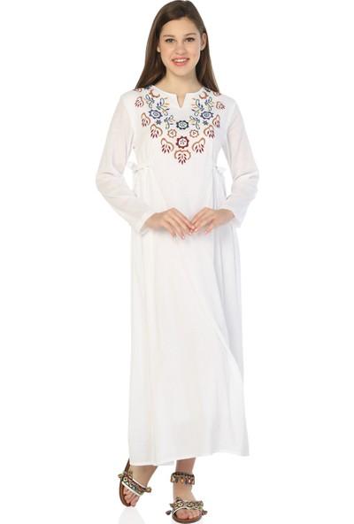Eliş Şile Bezi Uzun Kol Yasemin Elbise