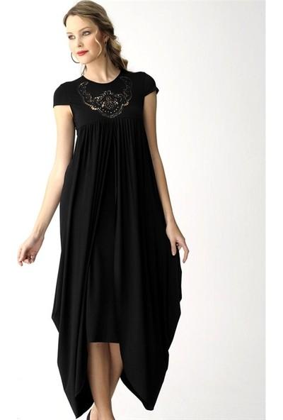 Dodona 2487 Yakası Zircon Taşlı Siyah Elbise