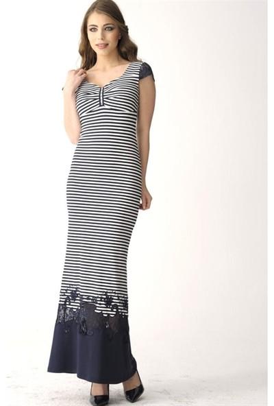 Dodona 2416 Tasarım Taşlı Çizgili Elbise