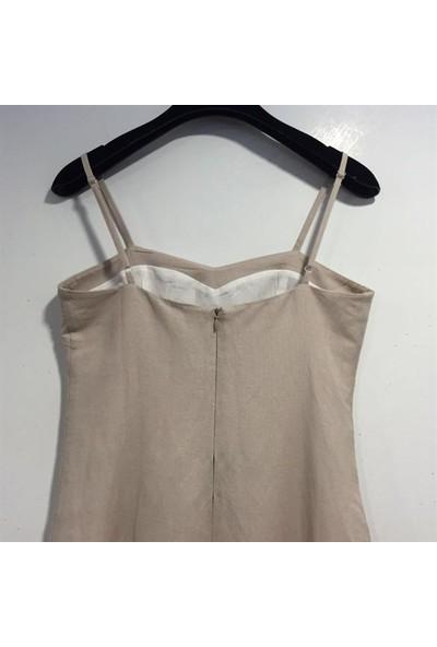 Dodona 1593 Zircon Metalli Tasarım Keten Elbise