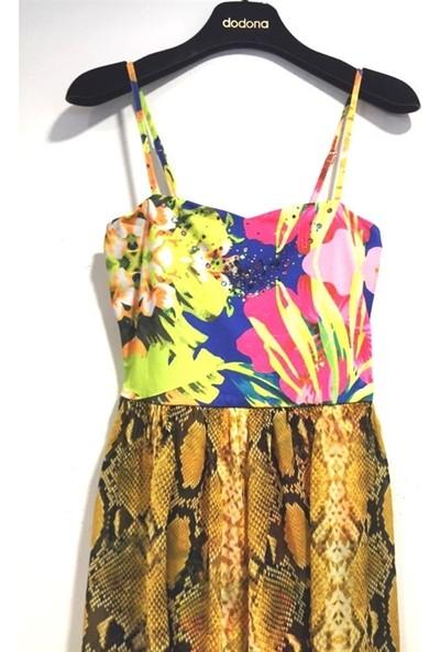 Dodona 1573 Zircon Taşlı Şifon Detaylı Mini Gece Elbisesi