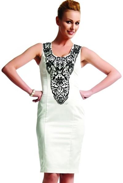 Dodona 1496 Zircon Taşlı Beyaz Gece Elbisesi