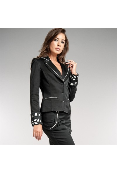 Dodona 1377 Güpürlü Zircon Taşlı Siyah Ceket