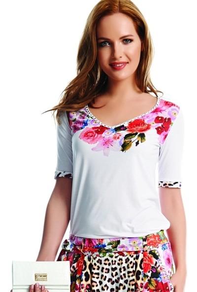 Dodona 1841 Yakası Taşlı Çiçek Desenli Beyaz Bluz