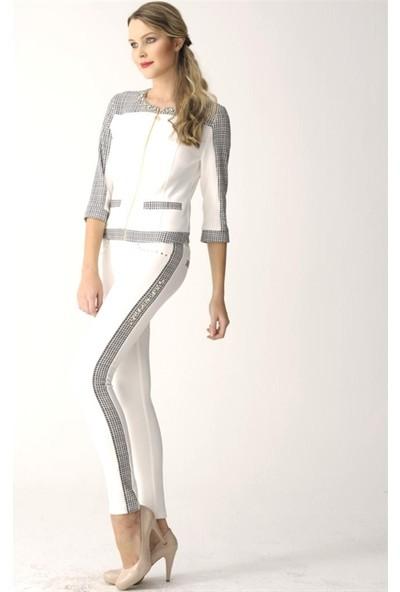 Dodona 2452 Zircon Taşlı Tasarım Beyaz Pantolon