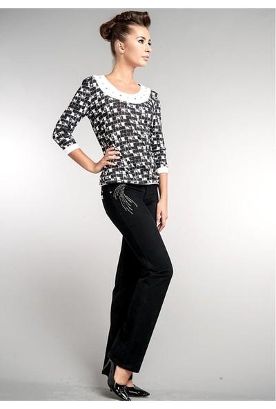 Dodona 1380 Zircon Taşlı Şık Boru Paça Pantolon Kadın