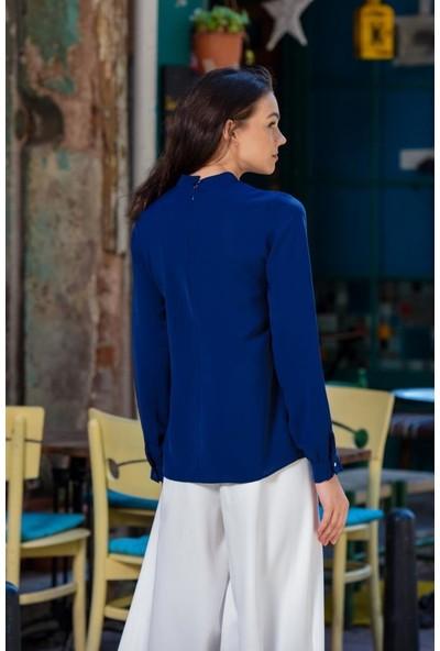 Abacı Kadın Lacivert Şifon Gömlek 11823-J40-38