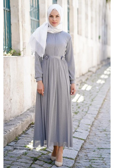 Abacı Kadın Gri Tül Gümüş Simli Abiye 11974-S79-38