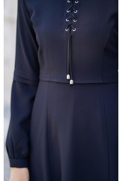 Abacı Kadın Siyah Mevsimlik Elbise 12087-K99-38