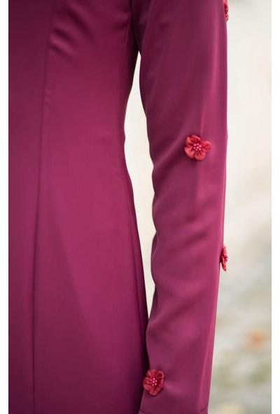 Abacı Kadın Mürdüm Çiçekli Elbise El10676-J49-40