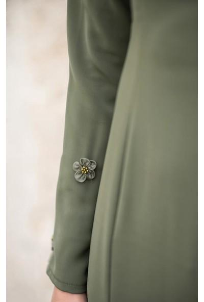 Abacı Kadın Haki Çiçekli Elbise El10676-K74-38