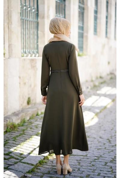 Abacı Kadın Haki Şifon Elbise Elb11384K-F01-38