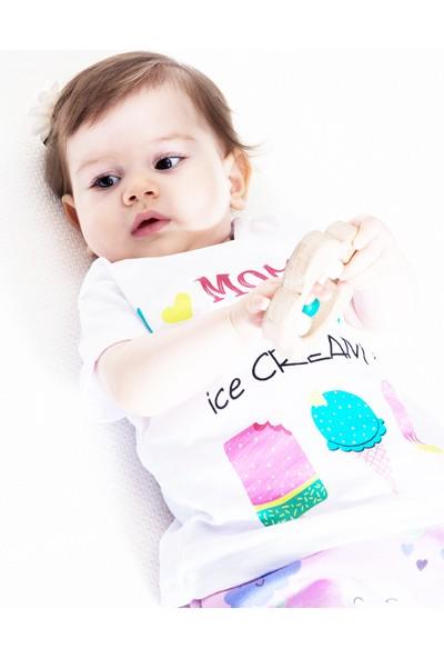 Colorinas I Love Mommy Kısa Kol T-Shirt Beyaz