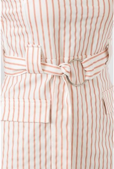 İroni Çizgili V Yaka Pudra Kolsuz Elbise