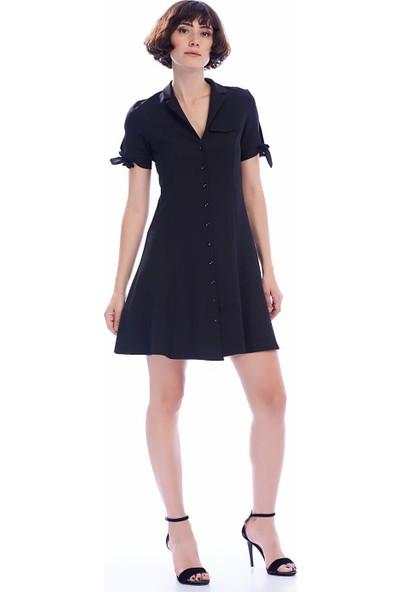 İroni Mini Siyah Gömlek Elbise