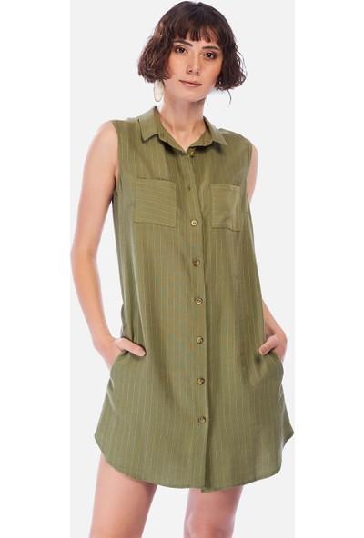 İroni Haki Çizgili Kolsuz Gömlek Tunik