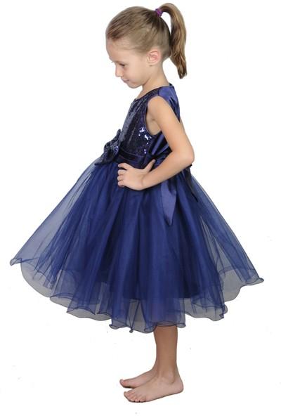 Butikhappykids Kız Çocuk Lacivert Payetli Abiye Elbise