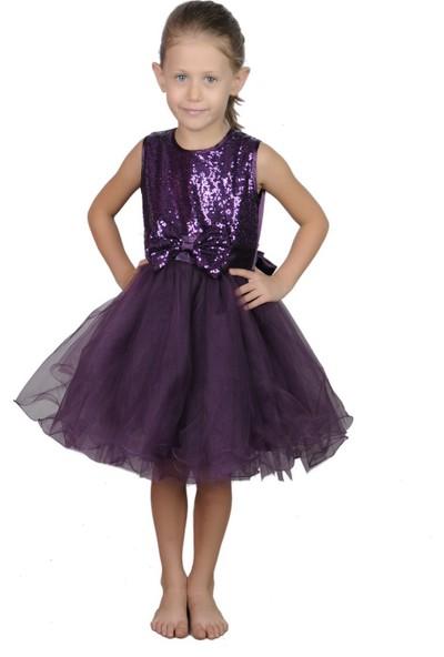 Butikhappykids Kız Çocuk Mor Payetli Abiye Elbise