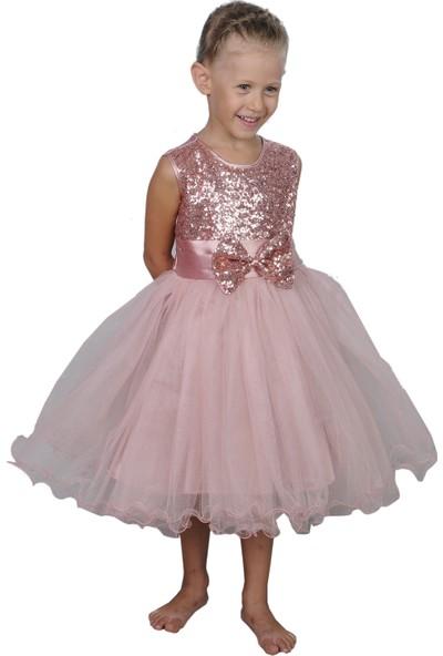 Butikhappykids Kız Çocuk Gül Kurusu Payetli Abiye Elbise