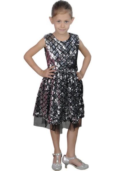 Butikhappykids Gümüş Payetli Kız Çocuk Abiye Elbise