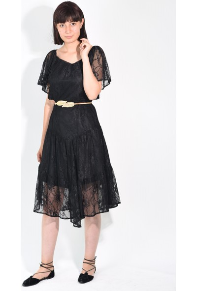 Kavshak Kadın Asimetrik Model Dantel Elbise