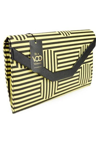 Voo Siyah Sarı Çizgili Retro Cloutch El Çantası