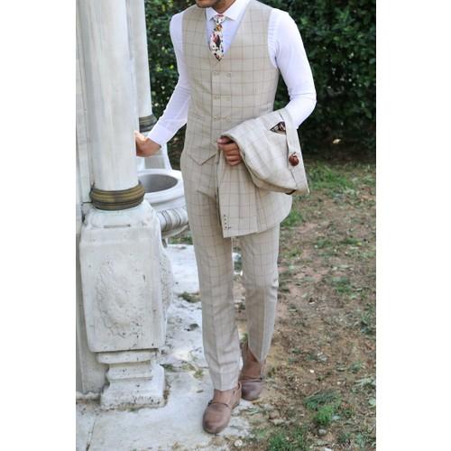1d39512f633f7 Wessi Erkek Ekose Yelekli Krem Renk Takım Elbise Fiyatı