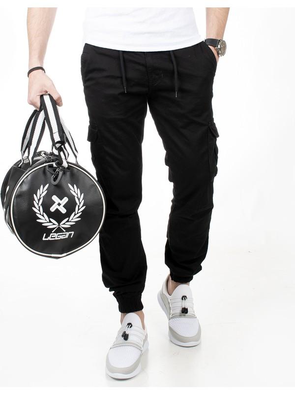 Deepsea Siyah Paçası Ve Beli Lastikli Bağcıklı Erkek Kargo Pantolon 1601569-002