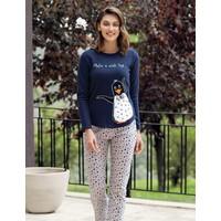 Mel Bee Penguen Baskılı Pijama Takımı Lacivert MBP23618-1