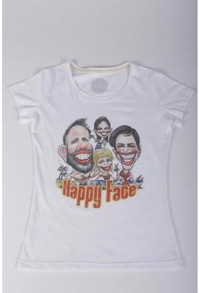 Bizim Aile Beyaz Kadın T-Shirt Happy Face