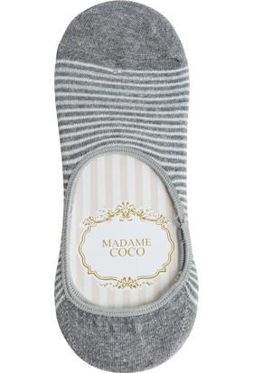 Madame Coco Simli Çizgili Kadın Babet Çorabı - Antrasit / Silver