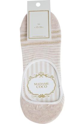 Madame Coco Simli Çizgili Kadın Babet Çorabı - Bej / Gold