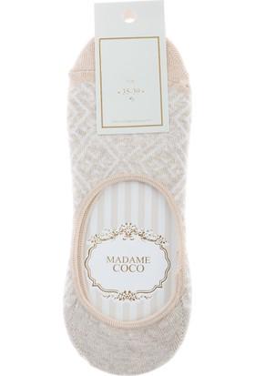 Madame Coco Geometrik Kadın Babet Çorabı - Bej