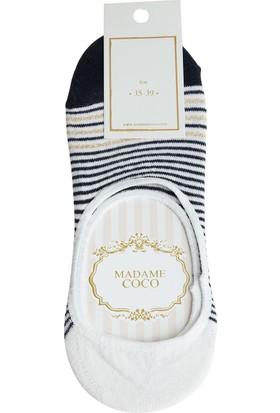 Madame Coco imli Çizgili Kadın Babet Çorabı - Lacivert / Gold