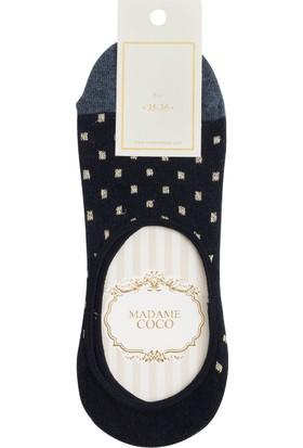 Madame Coco Simli Kareli Kadın Babet Çorabı - Lacivert / Silver