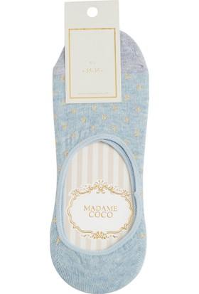 Madame Coco Simli Kareli Kadın Babet Çorabı - Mavi / Gold