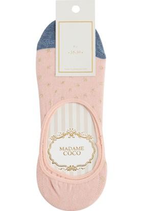 Madame Coco Simli Kareli Kadın Babet Çorabı - Pudra / Gold