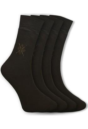 Adonis Erkek Havlu Çorap Kışlık Termal Dikişsiz 4 Çift Set Kahverengi
