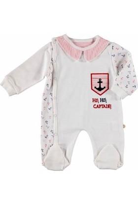 Bibaby Yakalı Kaptan Önden Çıtçıtlı Erkek Bebek Tulum