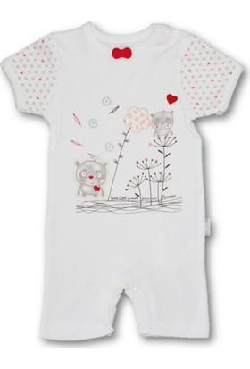 Bibaby Sevimli Arkadaşlar Kısa Kız Bebek Tulum- Kırmızı