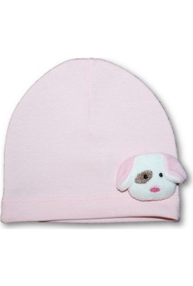 Bibaby Köpekçikli Penye Kız Bebek Şapka-Pembe