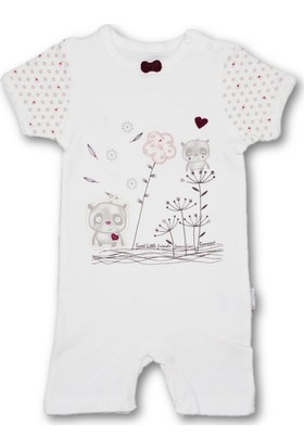 Bibaby Sevimli Arkadaşlar Kısa Kız Bebek Tulum-Mor