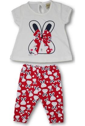 Biricik's Tavşanlı Fiyonklu 2'Li Kız Bebek Tayt Takım-Kırmızı