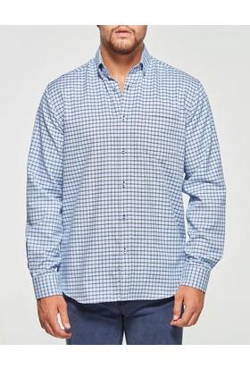 Uztex 1937 Compact Uzun Kol Mavi Gömlek