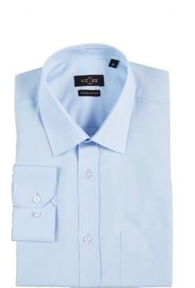 Uztex 1141 Dacron Klasik Yaka Uzun Kol Mavi Gömlek